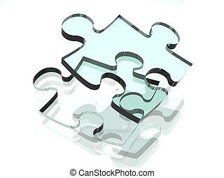 Transparent Puzzle - 3D Illustration. A Clear plastic Puzzle...