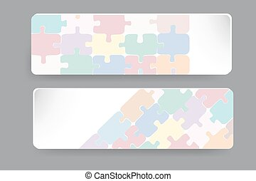 Transparent puzzle dekor on the pap - Two paper rectangles...