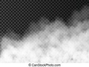 transparent, röka, isolerat, vit, eller, dimma, bakgrund.