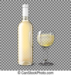Transparent  realistic bottle for white wine with glass  isolated on plaid background. Vector