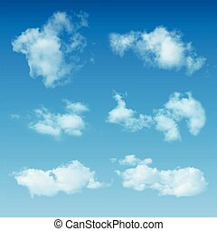 Transparent Realistic Clouds On Blue Sky Background