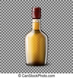 Transparent realistic Vector bottle with smokey Scotch Whiskey and ice isolated. Glass and drink for every background.