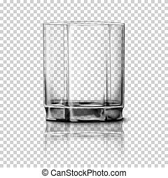 Transparent realistic Vector glass isolated on plaid background with reflection, for design, branding.