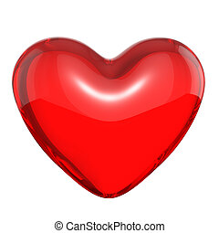 Transparent red candy heart, isolated on white background