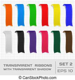 Transparent Ribbons Set 2. Tags, Bookmarks. Vector