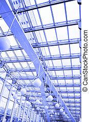 Transparent roof of trade centre