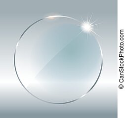 Transparent round circle. See through element on checkered...