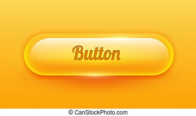 Transparent rounded shiny glass button. UI element.