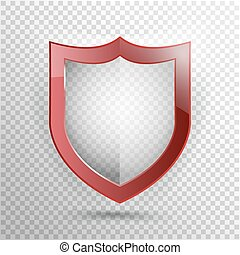 Transparent Shield. Safety Badge Icon. Privacy Guard Banner. Protection Red  Concept. Decoration Secure Element. Defense Sign. Conservation Symbol. Vector illustration