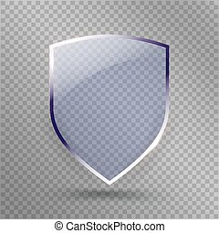 Transparent Shield. Safety Glass Badge Icon. Privacy Guard Banner. Protection Blue  Concept. Decoration Secure Element. Defense Sign. Conservation Symbol. Vector illustration