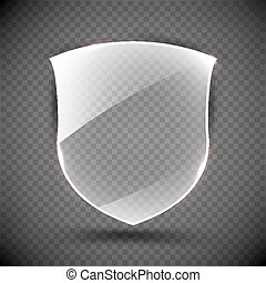 Transparent Shield. Safety Glass Badge Icon. Privacy Guard Banner. Protection Concept. Decoration Secure Element. Defense Sign. Conservation Symbol. Vector illustration