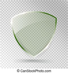Transparent Shield. Safety Glass Badge Icon. Privacy Guard Banner. Protection Green Concept. Decoration Secure Element. Defense Sign. Conservation Symbol. Vector illustration