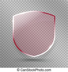Transparent Shield. Safety Glass Badge Icon. Privacy Guard Banner. Protection Red Concept. Decoration Secure Element. Defense Sign. Conservation Symbol. Vector illustration
