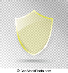Transparent Shield. Safety Glass Badge Icon. Privacy Guard Banner. Protection Yellow Concept. Decoration Secure Element. Defense Sign. Conservation Symbol. Vector illustration