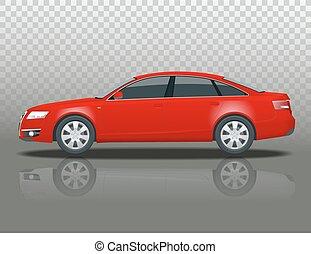 transparent., side., wszystko, elementy, click., handlowy kolorują, odizolowany, jeden, wektor, szablon, pojazd, sedan, grupy, bok, zmiana, prospekt