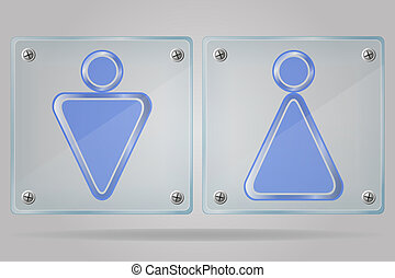 transparent sign man and women toilets on the plate vector illus