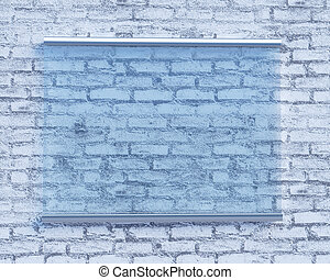 Transparent signboard on concrete wall, mock up 3d illustration style, symbol, template, transparent, up, wall, white