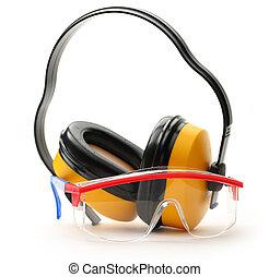 transparent, skyddande skyddsglasögon, och, hörlurar
