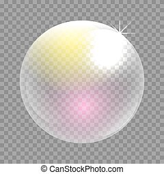 Transparent soap bubble vector clip art. Iridescent bubble...