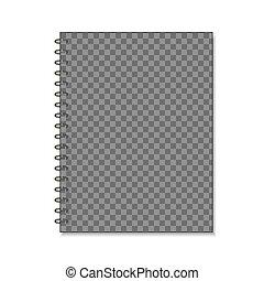 Transparent spiral notepad mockup for branding on white -...