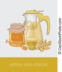 Transparent teapot or pitcher with strainer, cup of tea, jar of honey, ginger root and dipper hand drawn in vintage style. Sweet delicious warming beverage. Colorful vector illustration for label.