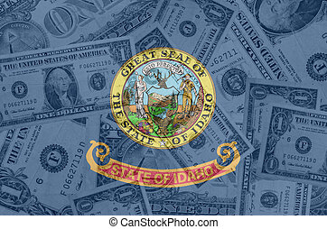 transparent united states of america state flag of idaho with dollar currency in background symbolizing political, economical and social government