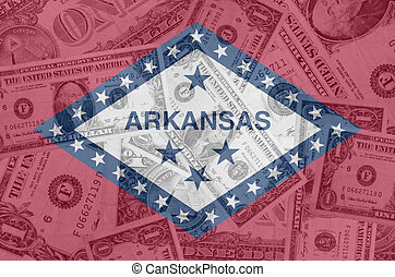 transparent united states of america state flag of arkansas with dollar currency in background symbolizing political, economical and social government