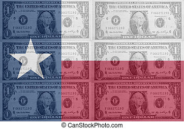 transparent united states of america state flag of texas with dollar currency in background symbolizing political, economical and social government
