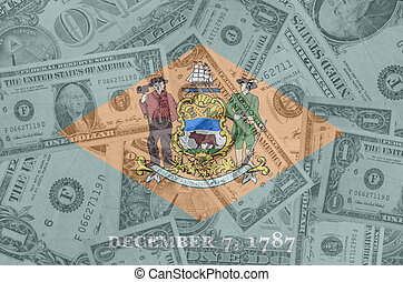 transparent united states of america state flag of delaware with dollar currency in background symbolizing political, economical and social government