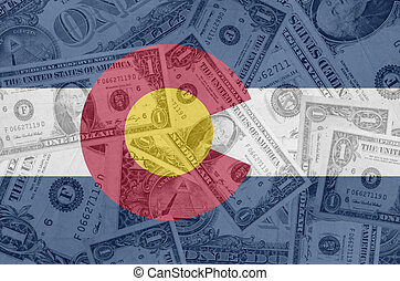 transparent united states of america state flag of colorado with dollar currency in background symbolizing political, economical and social government