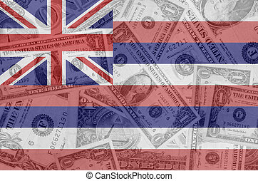 transparent united states of america state flag of hawaii with dollar currency in background symbolizing political, economical and social government