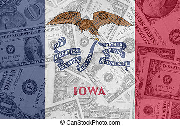 transparent united states of america state flag of iowa with dollar currency in background symbolizing political, economical and social government