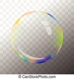 Transparent vector soap bubble - Colorful transparent vector...