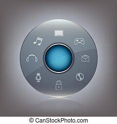 transparent, verre, bouton, à, icône