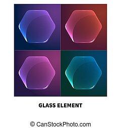 transparent, verre, bouton
