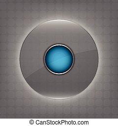transparent, verre, cercle, bouton