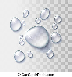 Transparent water drop on light gray background, vector...
