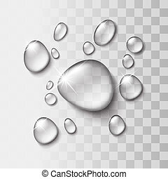 Transparent water drop on light gray background, vector ...