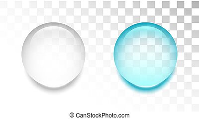 Transparent water drop on white background
