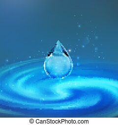 Transparent water droplet. Vector illustration. Falling water drop with sparkles and whirlpool background