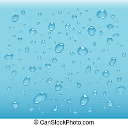 transparent water drops on light blue background