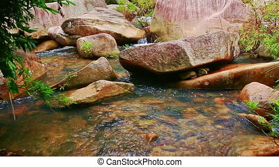 Transparent Water of Small Mountain River among Round Stones