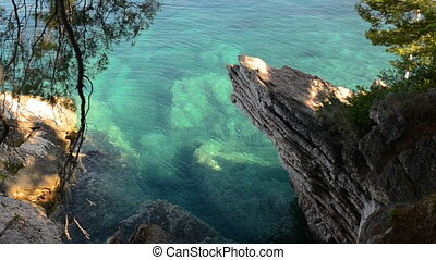 Transparent water on the rocky shore of the Adriatic Sea