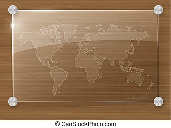 Transparent map of the world on a glass wall signboard. Vector graphics.