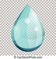 transparente, água azul, gota