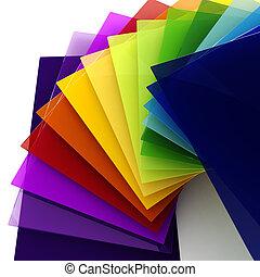 transparente, 3d, hojas, colorido, plástico