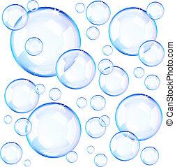 transparente, azul, jabón burbujea