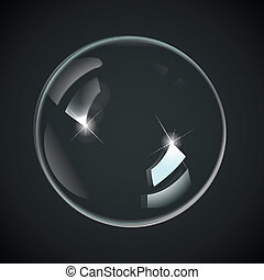 transparente, burbujas, en, negro
