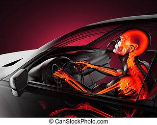 transparente, car, conceito, com, motorista