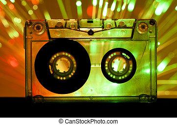 transparente, cinta cassette, club enciende, plano de fondo